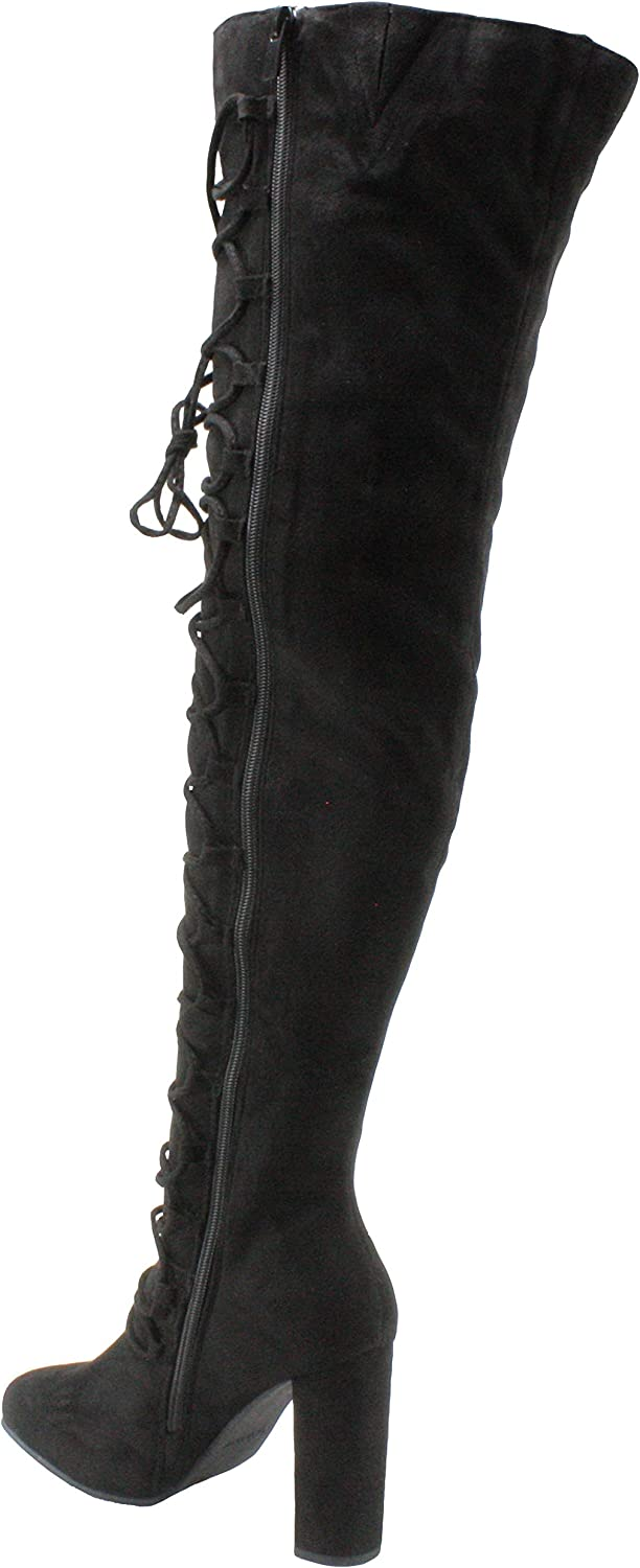 Forever Womens Carpio-78 Faux Suede Round Toe Over The Knee Block High Heel Dress Boots