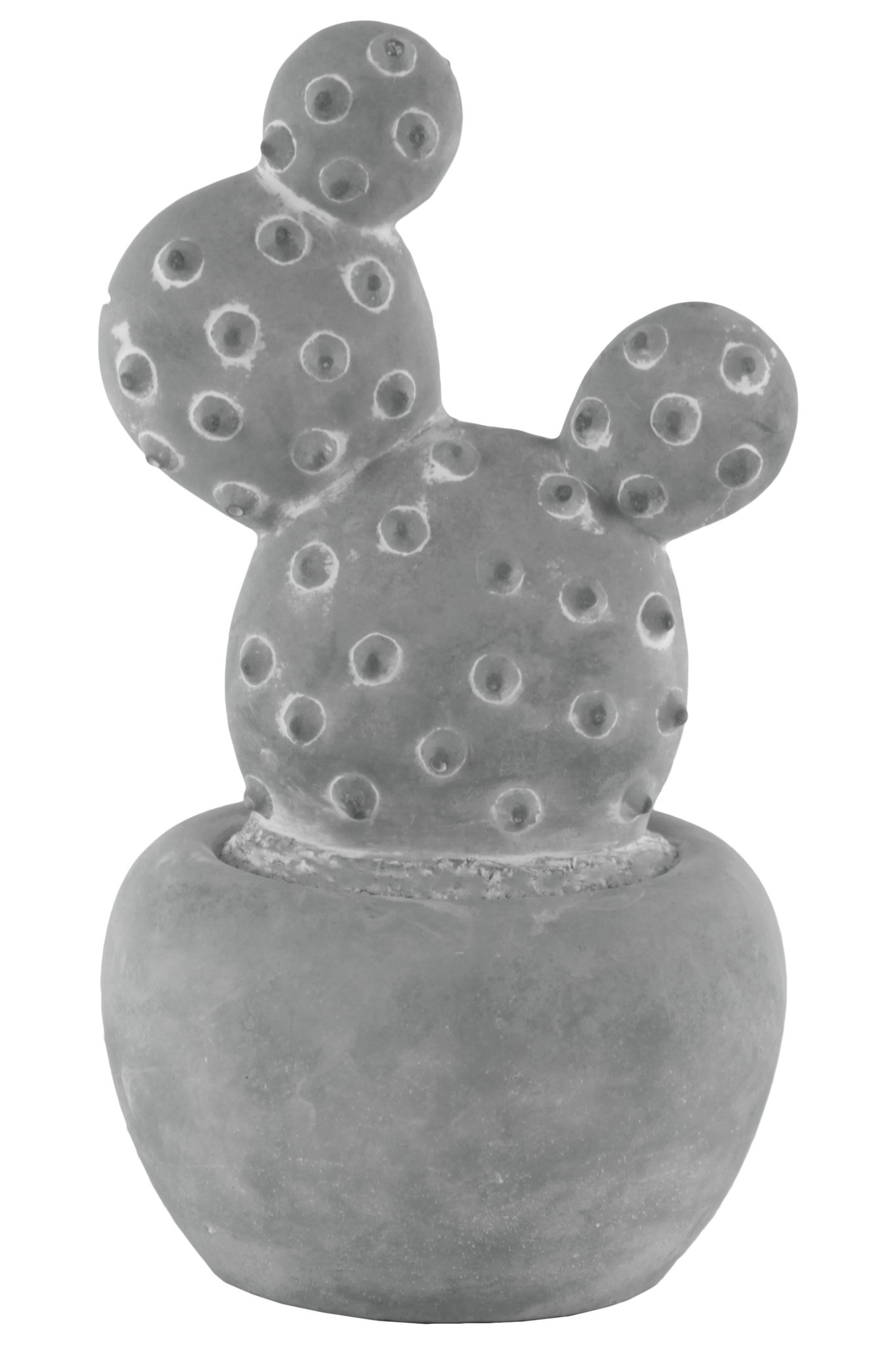 Urban Trends 53601 Cement Cactus Prickly Pear Figurine on Round Base Large Washed Concrete Finish, Gray