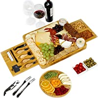 Charcuterie Board, Bamboo Serving Board with Fruit Tray Perfect as House Warming Presents, Wedding, Birthday Gifts…