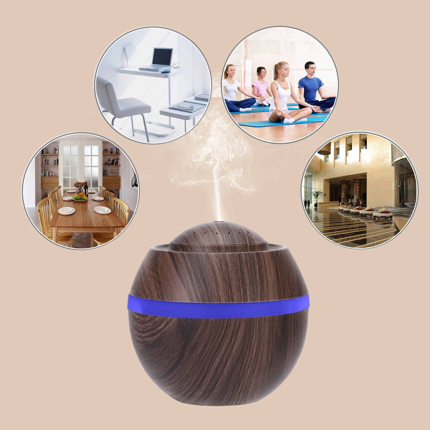 Cool Mist Humidifier Ultrasonic Aroma Essential Oil Diffuser for Office Home Bedroom Living Room Study Yoga Spa - Wood Grain (Brown) by O'abazar (Image #7)