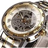 腕時計, メンズ腕時計、ラグジュアリークラシックステンレスメカニカルウォッチスケルトンビジネスカジュアルウォッチメンズ防水マルチ機能クォーツ腕時計メンズ