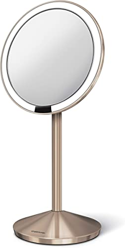 simplehuman Mirror 10X Magnification with 12 cm Sensor, Rose Gold Makeup Mirror ST3010