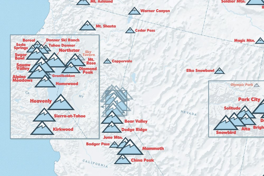Map Of Major Ski Areas In Western Us - Us ski resorts map