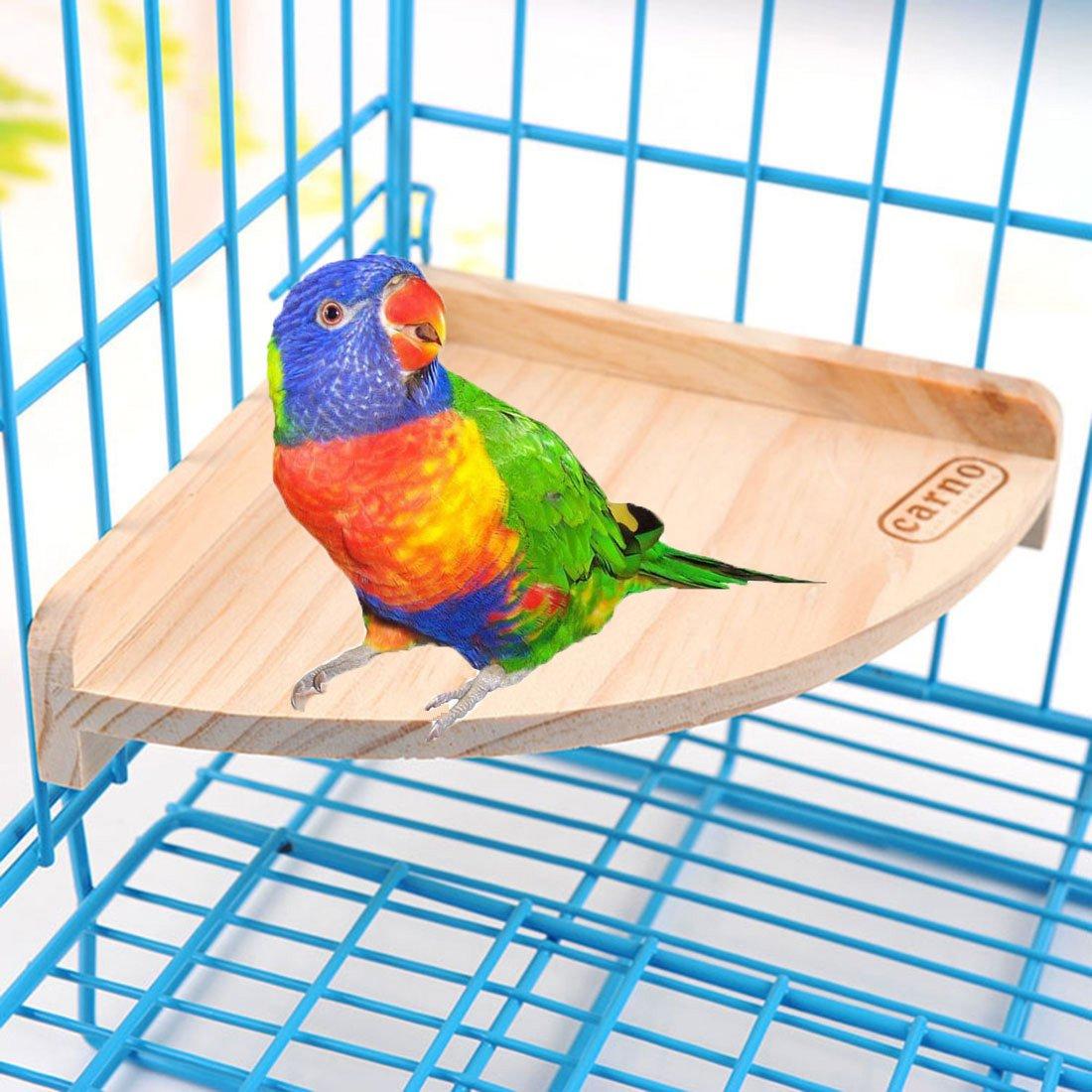 Wood Perch Platform for Bird Parrot Macaw African Greys Budgies Cockatoo Parakeet Conure Hamster Gerbil Rat Mouse Cage Shelf Toy