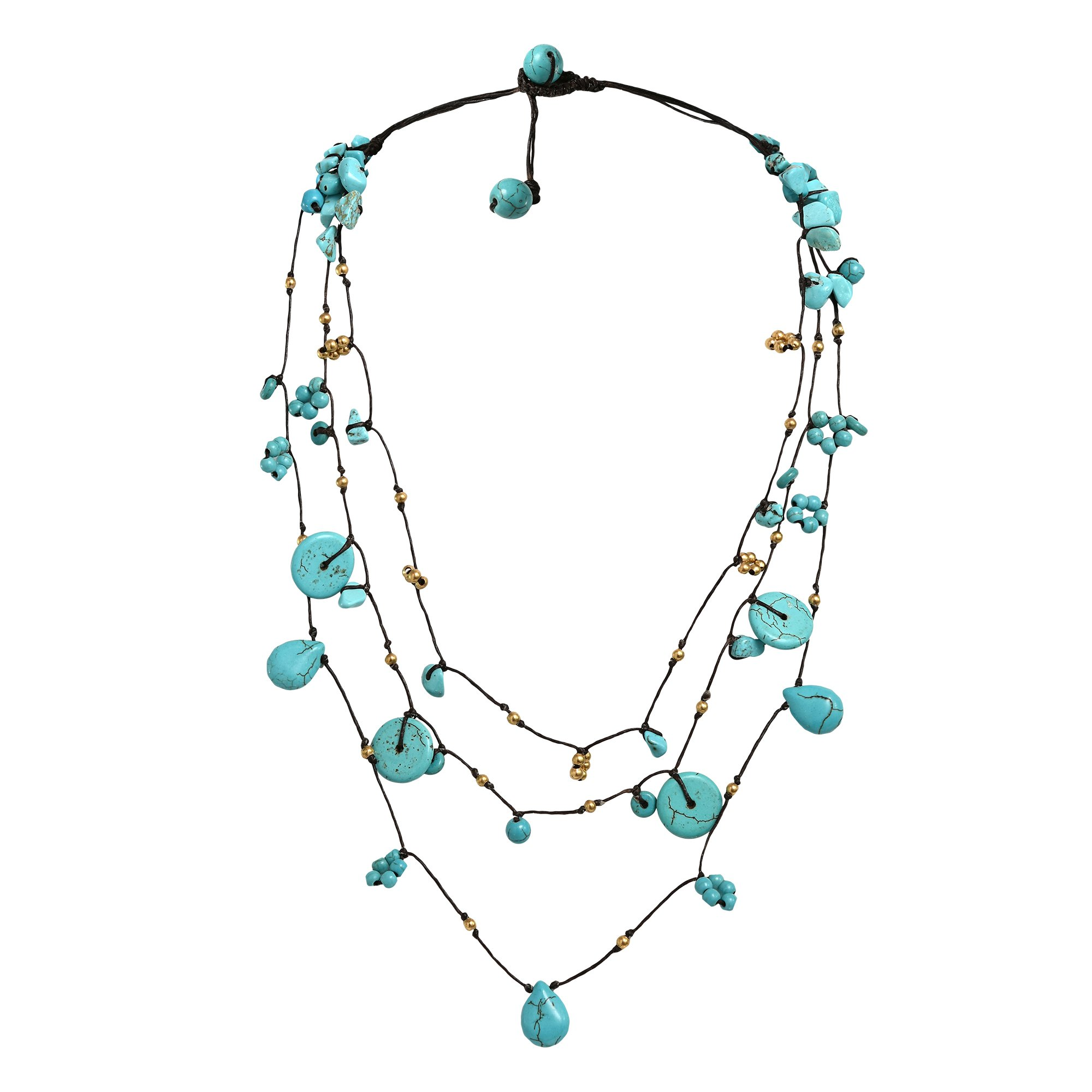 AeraVida Flowing Cascades Simulated Turquoise Brass Beading On Cotton Wax Rope Elegant Necklace