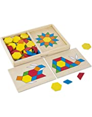 Melissa & Doug Pattern Blocks and Boards Classic Toy, Developmental Toy, Wooden Shape Blocks, Double-Sided Boards, 120 Shapes & 5 Boards, 4.318 cm H x 21.59 cm W x 33.274 cm L