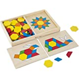 Melissa & Doug Pattern Blocks and Boards Classic Toy, Wooden Shape Blocks, 120 Shapes & 5 Boards, 4.318 cm H x 21.59 cm…