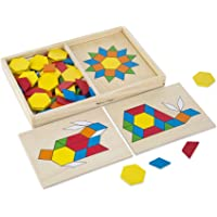 Melissa & Doug 29 Pattern Blocks and Boards,Multicolor