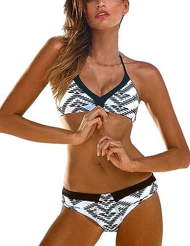 BYD da Donna 2pcs Bikini Coordinati Costumi da Bagno Separato Push up Reggiseni e Slip Stampato Halt...