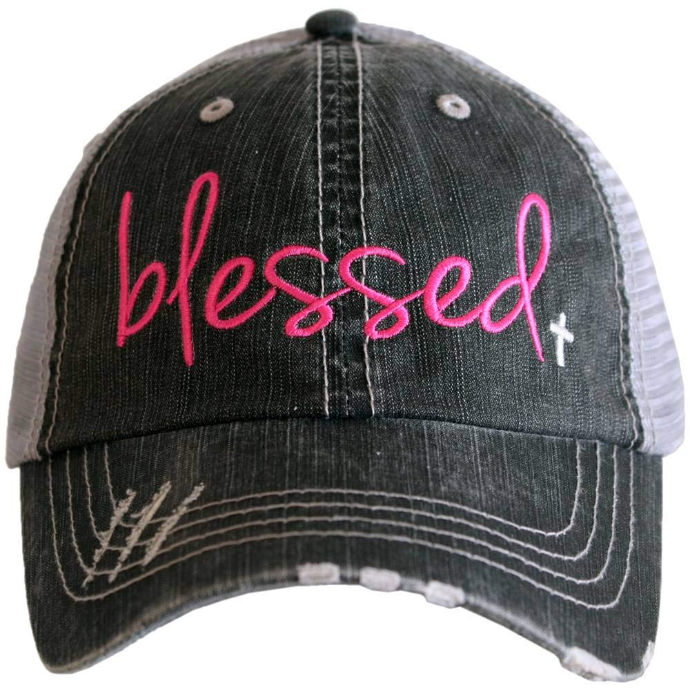Katydid Blessed Women's Trucker Hat-Hot Pink/White