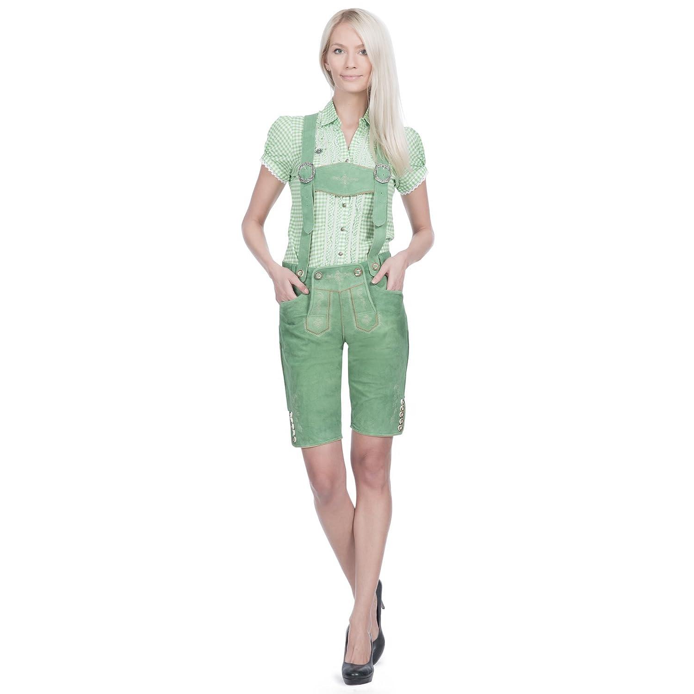 Damen Trachten Lederhose kurz in pastellgrün aus Zigenveloursleder verfügbar in Größe 34 bis 46