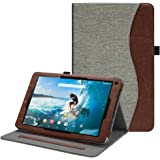 Fintie Case for Dragon Touch V10 10-Inch Android Tablet, [Multi-Angle Viewing] Premium Vegan Leather Protective Stand Cover with Pocket, Denim Grey