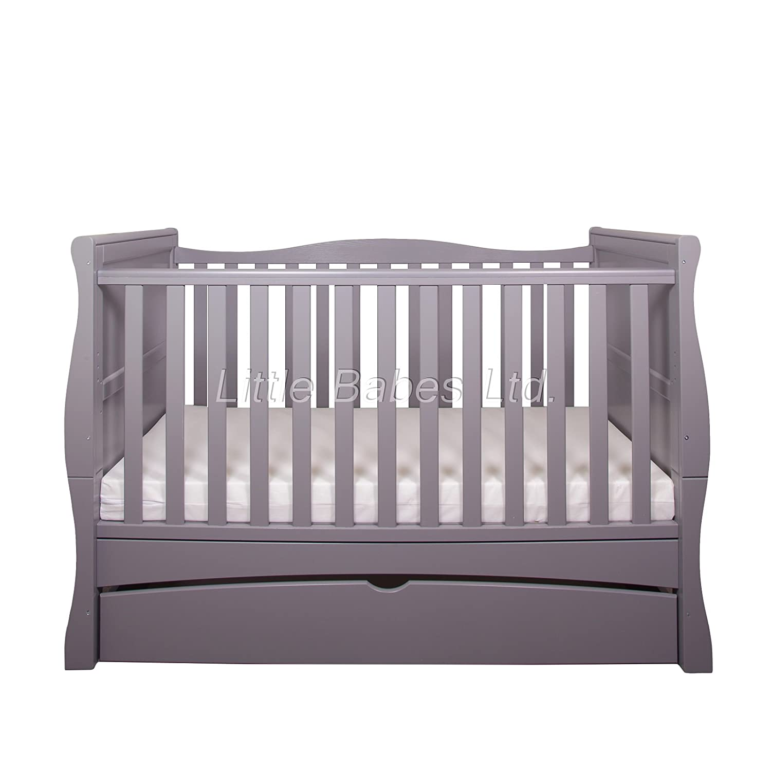 New Baby Grey Sleigh Mason Cot Bed with Drawer Only - Converts to Junior Bed/Toodler Bed (Require Mattress 140x70x10cm) Little Babes Ltd