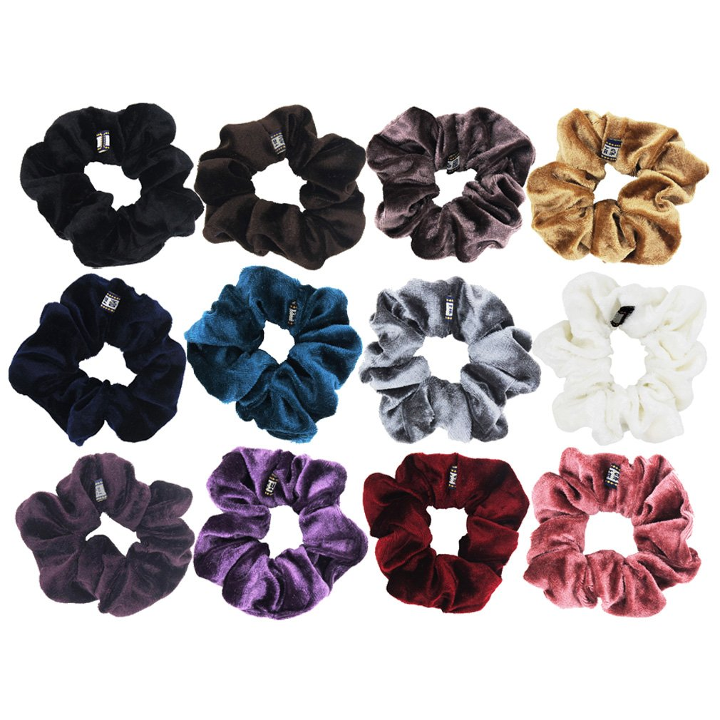 Amazon.com   12 Pack Hair Scrunchies Velvet Scrunchy Bobbles Elastic Hair  Bands (12pcs mix velvet scrunchies)   Beauty cd1fd5bdfd1