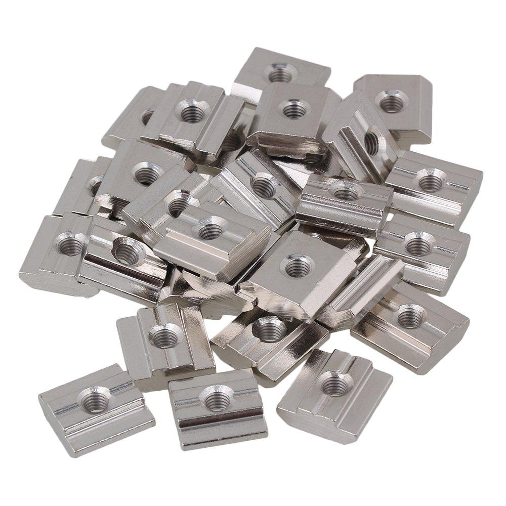 BQLZR Silber Kohlenstoffstahl Drop In T Nutensteine ??M6 Gewinde f¨ ¹ r Europ?ische Standard 30 Serie Aluminium Profil Extrusion Slot Pack von 30 BQLZRN22259