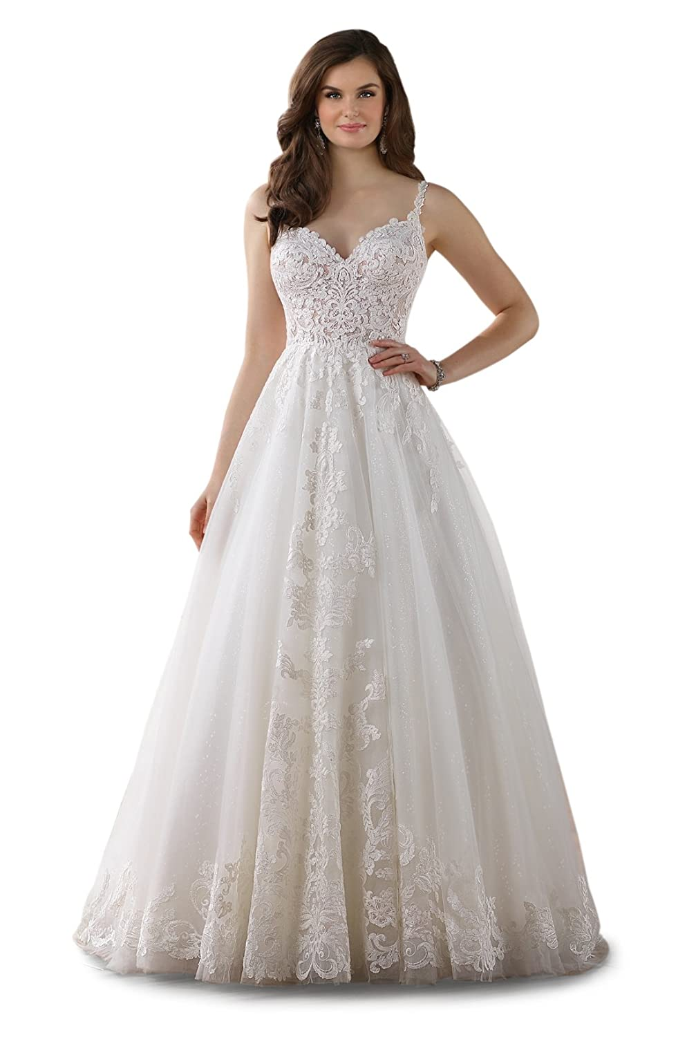53f0a560d781 Doramei Women s Strap Backless Lace Appliques Court Train Spring 2018  Wedding Dress at Amazon Women s Clothing store
