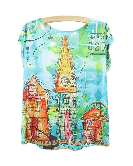 Yue Lian Damen Casual Locker Tops Cartoon Drei Häuser Muster T-Shirt ...