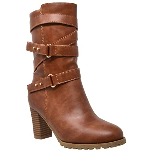 632f24c8b39 Womens Mid Calf Boots Strappy Buckle Accent Stacked Chunky Heel Shoes  KSC-WB-M30