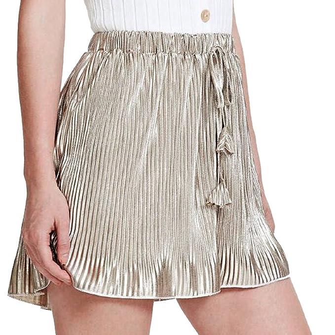 Online-Verkauf wo zu kaufen Kauf echt PinkLu Shorts Damen Plissee-Hose Aus Holz Mit Weitem Bein ...