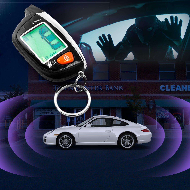 Alarma de seguridad para coche de 2 vías con pantalla LCD de estado y arranque remoto del motor: Amazon.es: Coche y moto