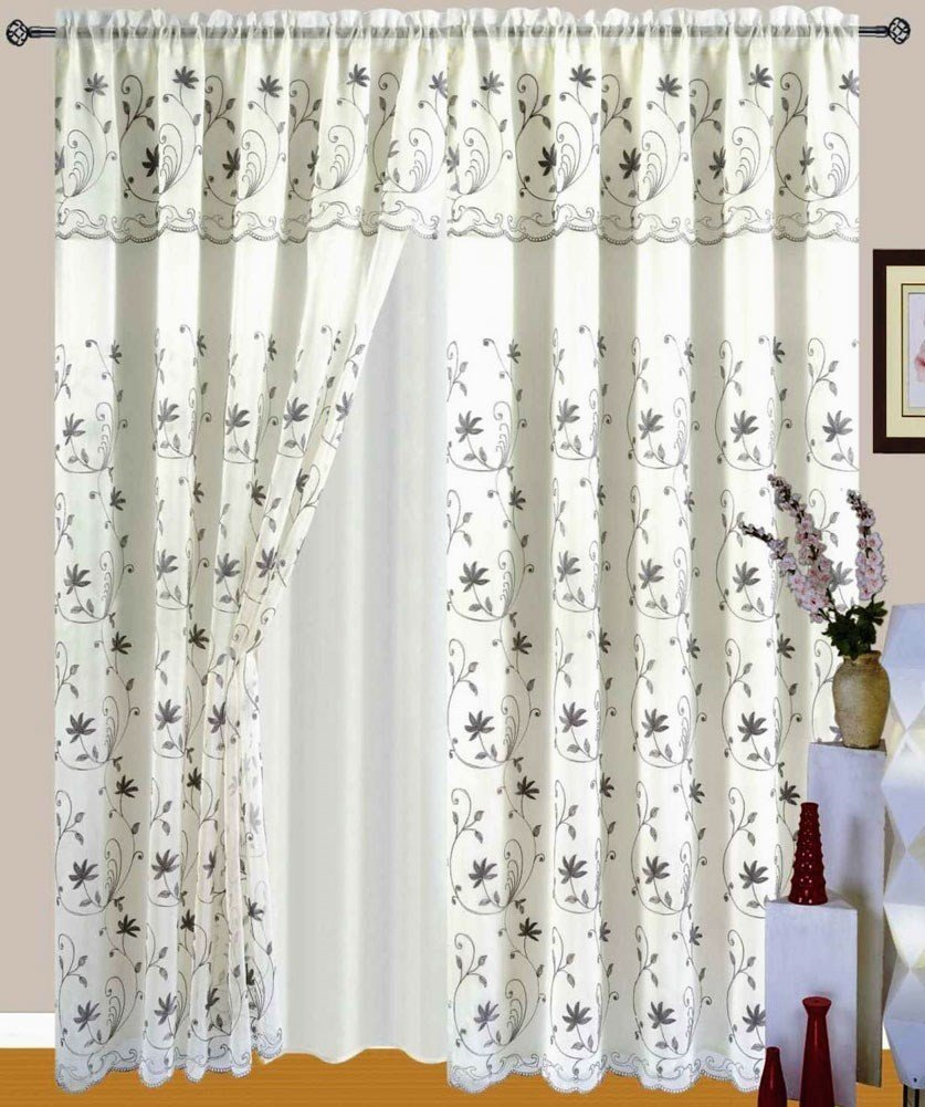 """Beautiful Embroidered Window Panel, """"2 Piece"""", Curtain With Attached 18"""" Valance and Backing, Le Benton -Beige/Grey"""