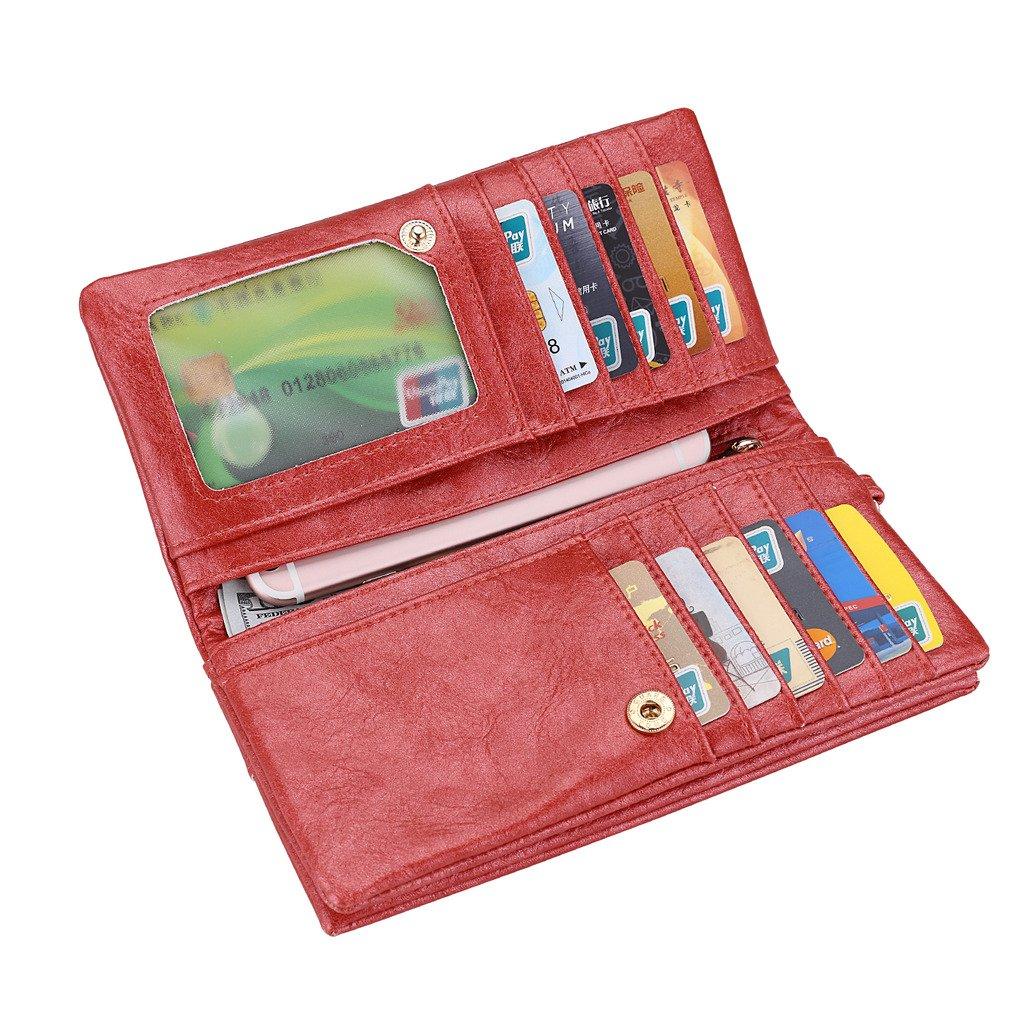 Realer Women's PU Leather Double Zipper Coin Purse Card Holder Case Long Wallet RHNWB0855010NRE-FBA