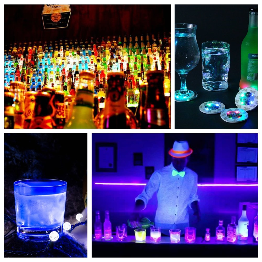 LOGUIDE LED Sticker Coaster Discs Lights for Wine Liquor Bottle Clear Glass Cup Coaster,Halloween Party, Wedding, Bar, Party Decoration 7 PCS