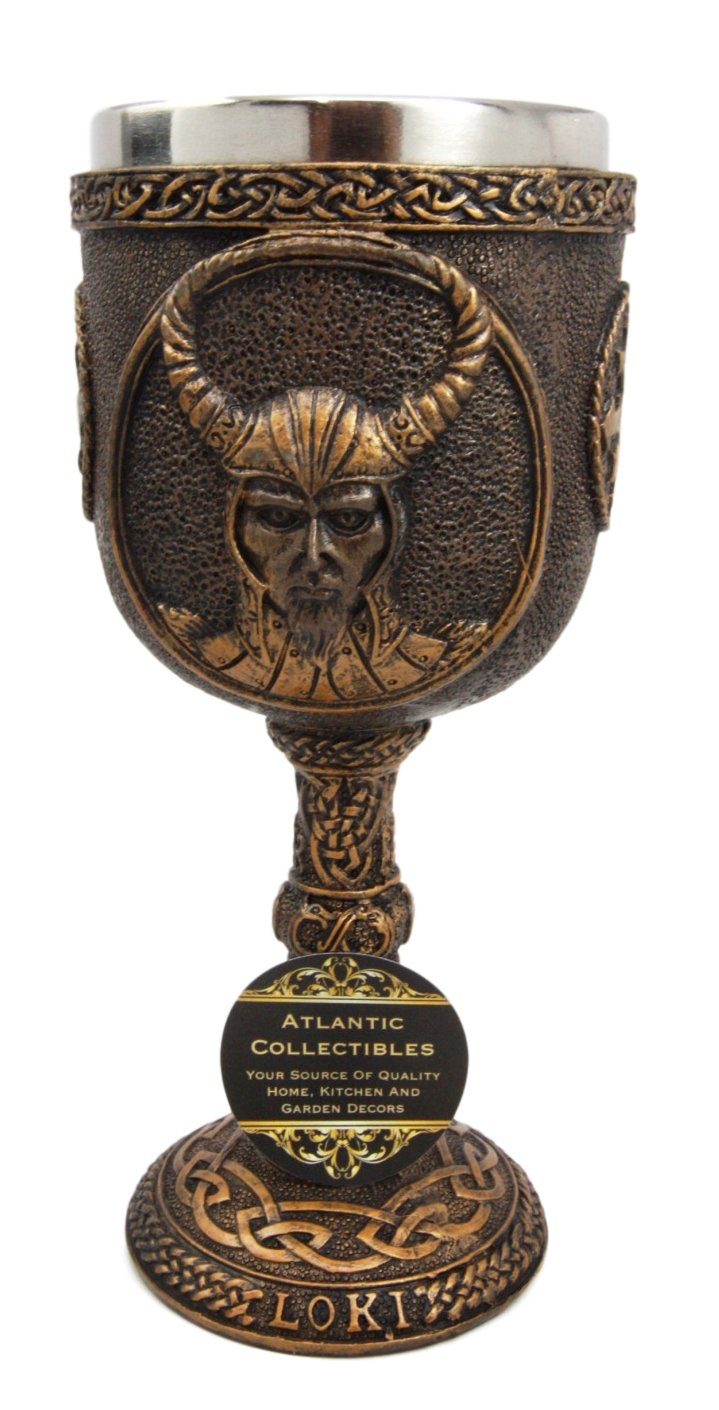 Atlantic Collectibles Norse Mythology Shapeshifter Trickster God Jotunn Loki 6oz Resin Wine Goblet Chalice With Stainless Steel Liner
