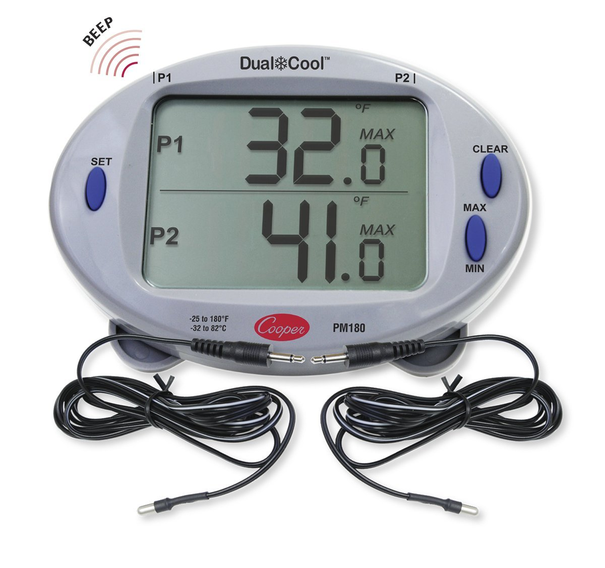 Cooper-Atkins PM180-02 Digital Mini Rectangular Panel Thermometer Kit with 2013 Air Pobes