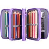 Pencil Caes,Newcomdigi 72 Slots Multi-layer Pen Bag Large Capacity Pouch Stationary Case Macro Pens Waterproof Pencil Makeup Cosmetic Case Holder (purple)