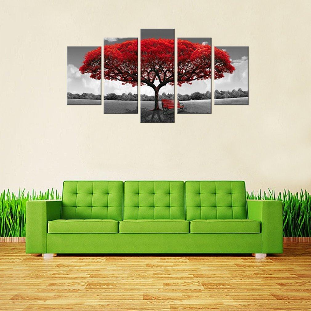 fertig zum Aufh/ängen Leinwand-Kunst f/ür die Heim-Dekoration Landschaftsmalerei modernes Kunsthandwerk Amosi Kunst 3 Platten Leinwand-Wandkunst: Baumbild gedruckt auf Leinwand gespannt und gerahmt