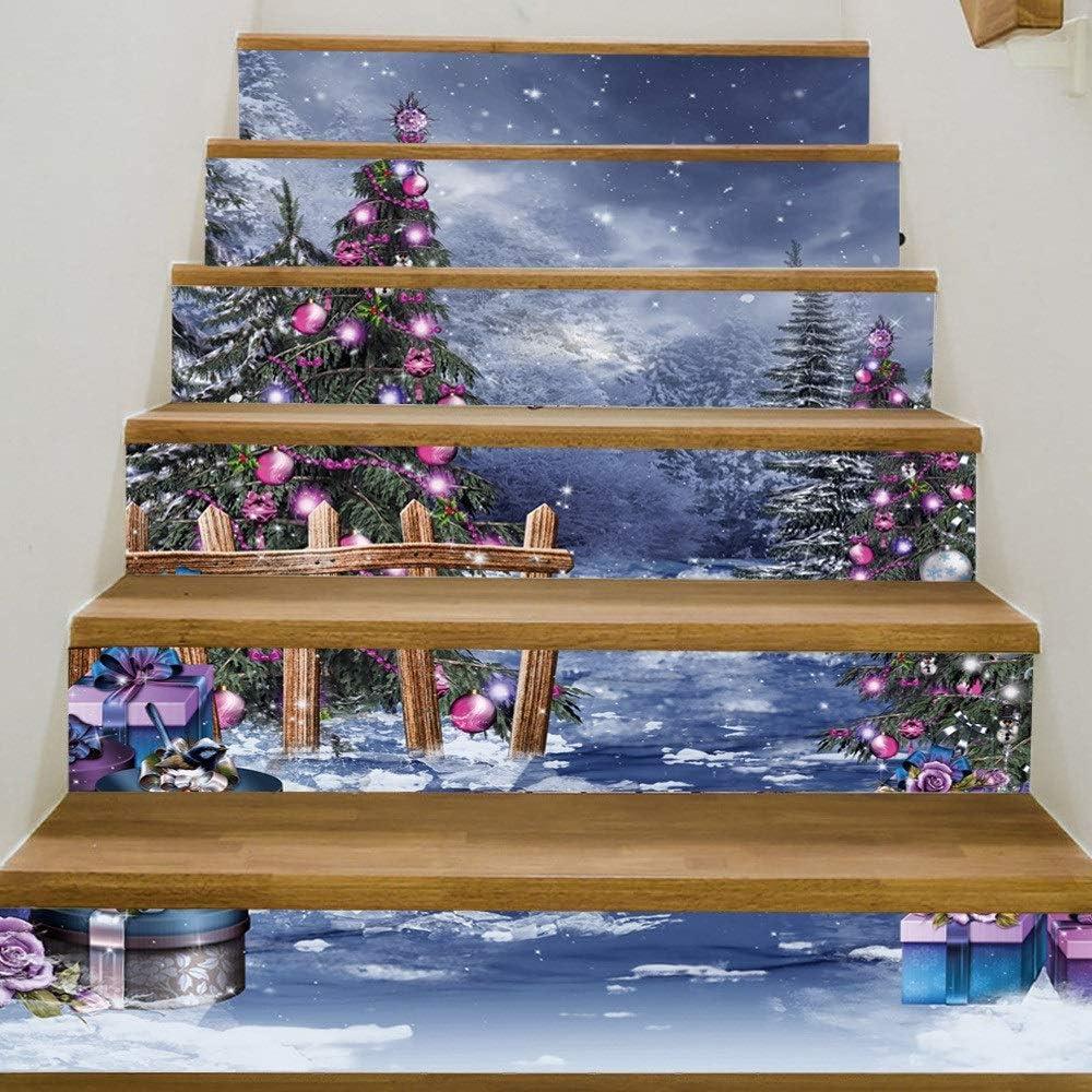 Escaleras Papel tapiz autoadhesivo Árbol de navidad Decoración del hogar 3D Desmontable Bricolaje Escaleras impermeables Pegatina HD Pegado Pegatina de pared móvil pegado Compre tres y llévese otro gr: Amazon.es: Hogar