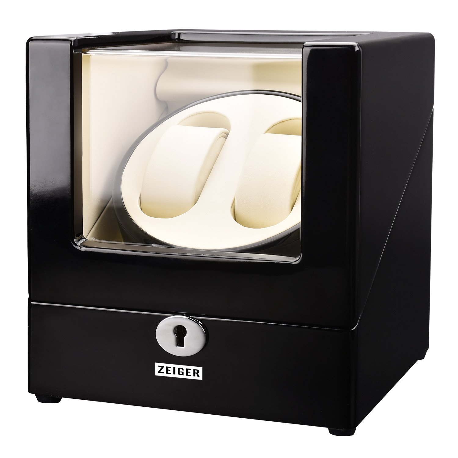 Zeiger Double Watch Winder for Large Watch Box Case with Quiet Automatic Japanese Mabuchi Motor Piano Paint s007