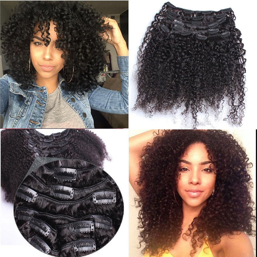 Amazon 3b 3c Afro Kinkys Curly Clip In Human Hair Extensions 8