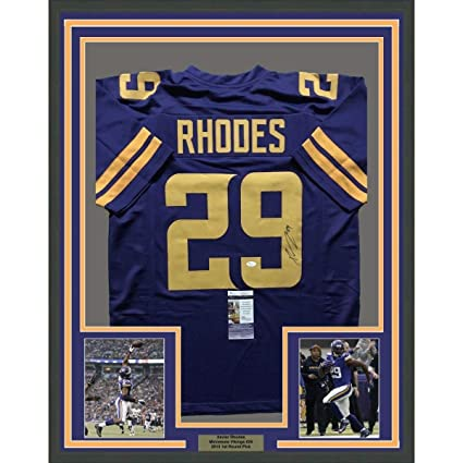 timeless design 385f4 f4a62 Autographed Xavier Rhodes Jersey - FRAMED 33x42 Color Rush ...
