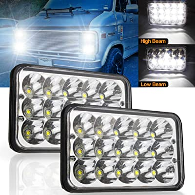 LED Headlights Rectangular 4x6 inch 45W Hi/Lo Sealed Beam Replacement H4651 H4652 H4656 H4666 H6545 For Kenworth Peterbilt Truck Freightliner Jeep Wrangler Oldsmobile Cutlass Ford Probe Chevrolet.: Automotive