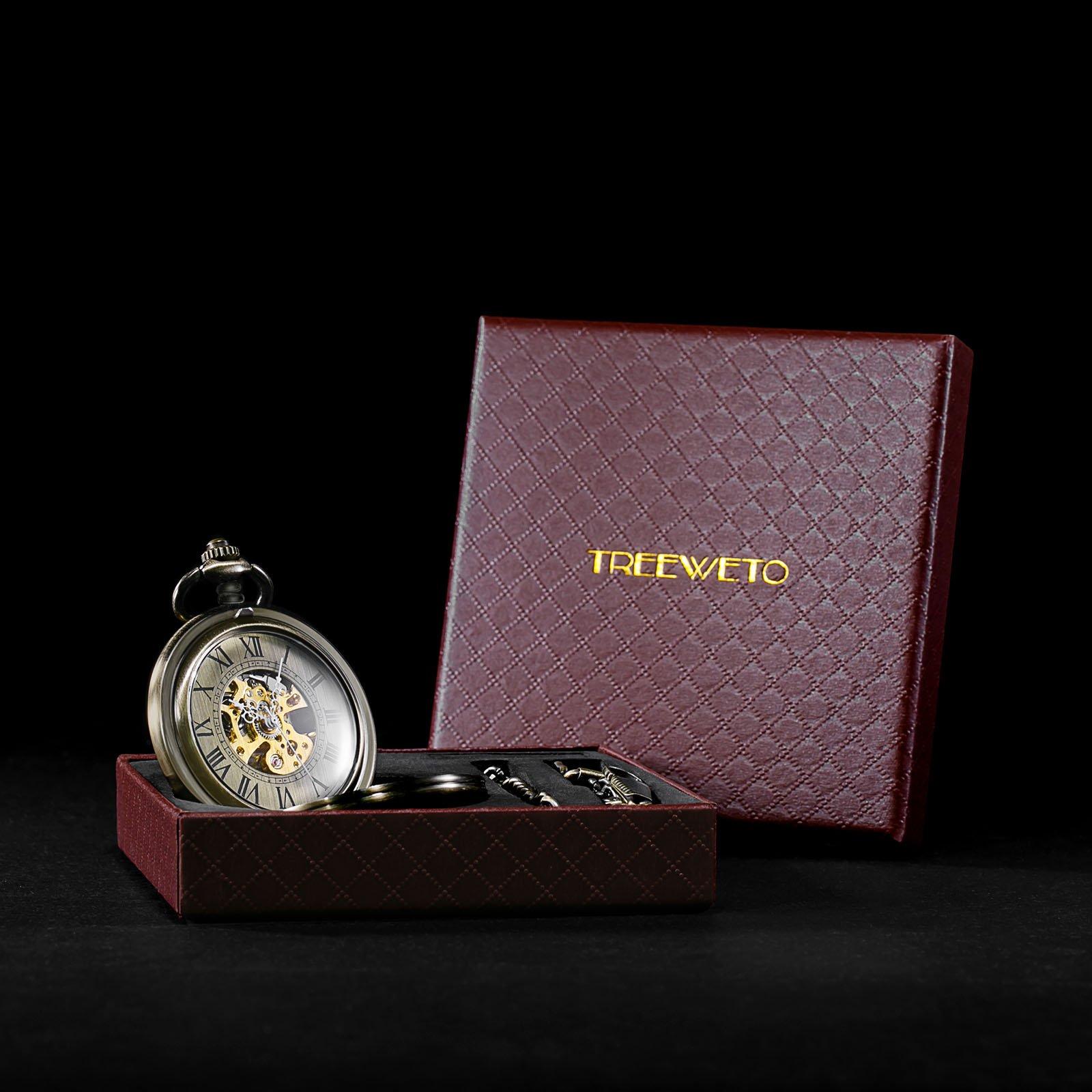 Treeweto Automatic Mechanical Pocket Watch Half Hunter Case Steampunk Skeleton Dial for Men Women