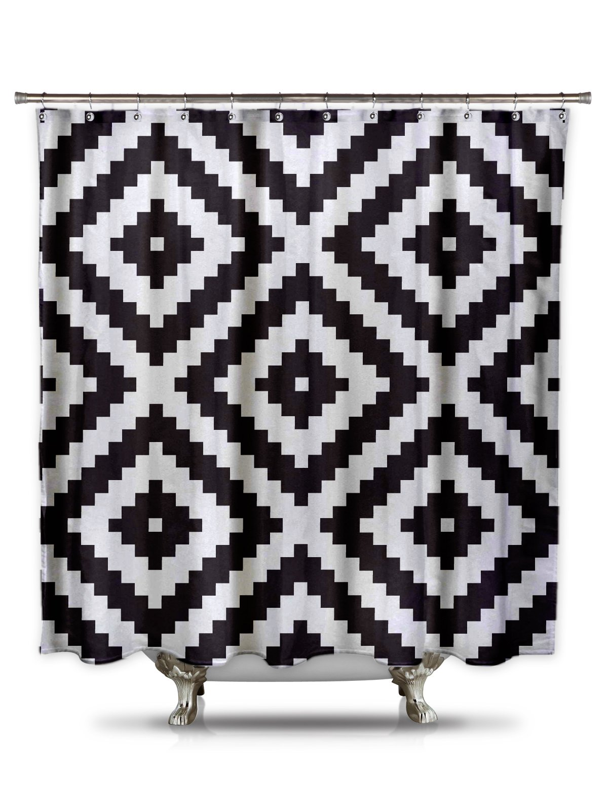 Black and White Diamond Grid Pixel Shower Curtain -  - shower-curtains, bathroom-linens, bathroom - 710THFGlIlL -
