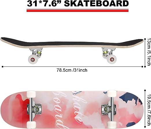putao Skateboard komplett 31 Zoll x 8 Zoll Skateboard und 4 weiche PU-R/äder Cruiser Longboard Skateboard f/ür Erwachsene Kinder Anf/änger M/ädchen Jungs
