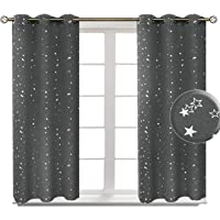 BGment Room Darkening Curtains for Kid's Room- Silver Star Foil Printed Window Drapes for Bedroom, 2 Panels …