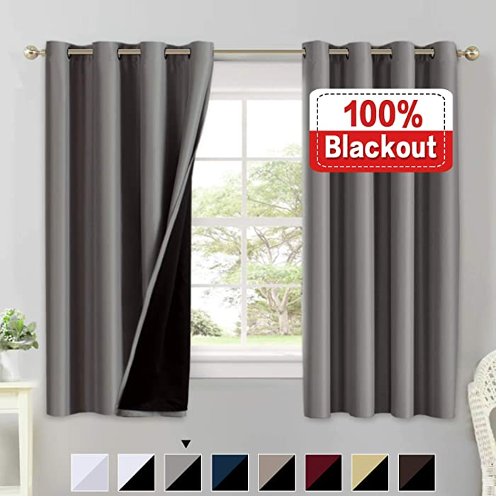 Full Blackout Grey Curtain Panels Set of 2, 100% Blakcout Curtains for Bedroom Lined Curtains 63 Inches Long Double Layer Curtains, Thermal Insulated Grommet Window Treatment Panels, Gray