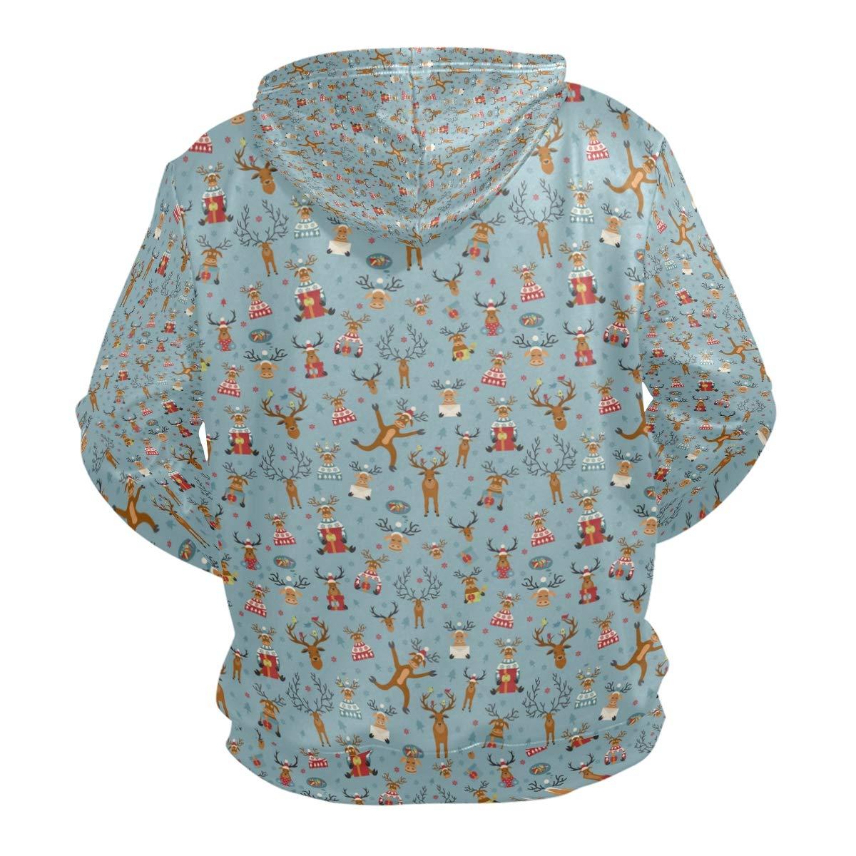 Jeffre Simp Mens Hooded Sweatshirt Cute Reindeer Happy Pullover Fashion Hoodie Sweater