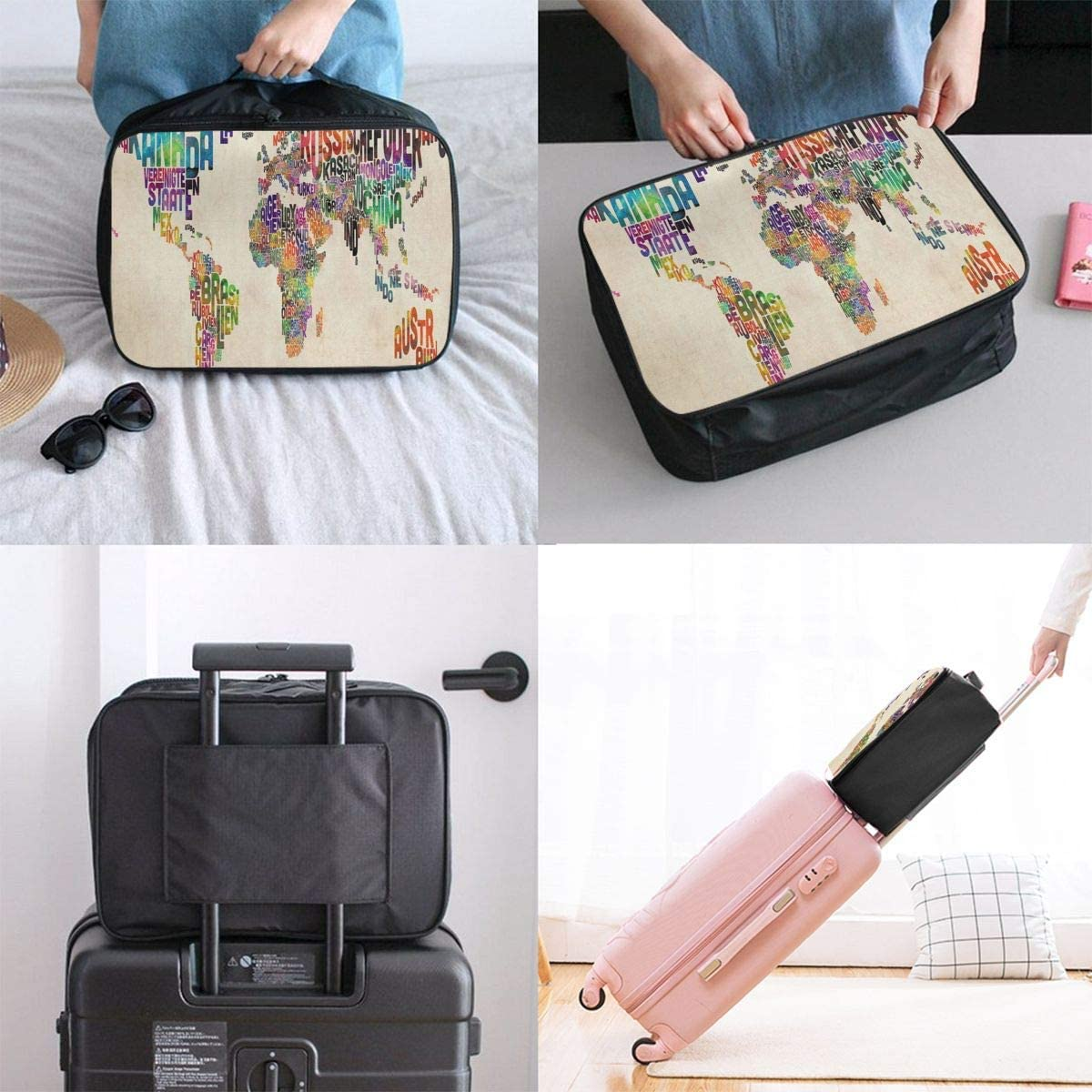 Travel Bags German Text Art Map Of The World Portable Suitcase Trolley Handle Luggage Bag