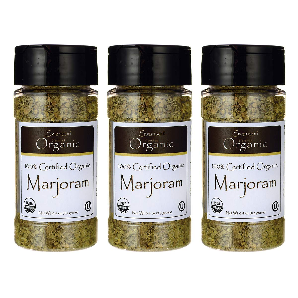 Swanson 100% Certified Organic Marjoram 0.4 Ounce (11.3 g) Flakes (3 Pack)
