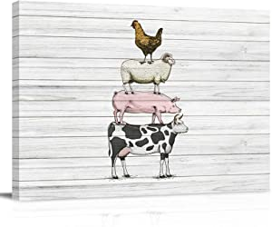 Farm Animal Print on Canvas, Canvas Picture 8x12inch, Wooden Framed Wall Artwork for Kitchen Bedroom Living Room Bathroom Decor, Cow Pig Sheep Chicken Wooden Texture
