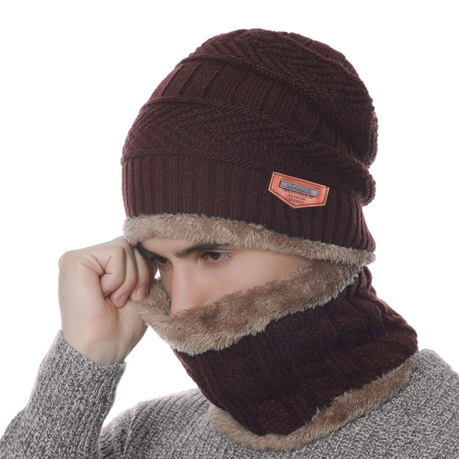Winter Warm Knit Beanie Hat Neck Warmer Scarf Set 2 Pcs Fleece Lining Men Women