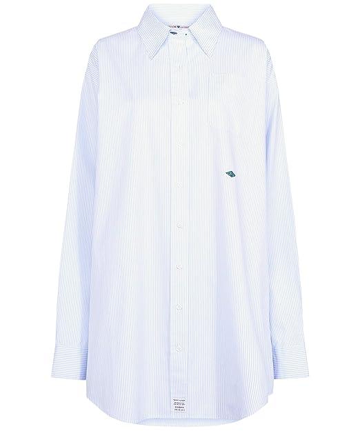 Tommy Hilfiger Damen Zendaya Gestreift Baumwolloxford Hemd Blau