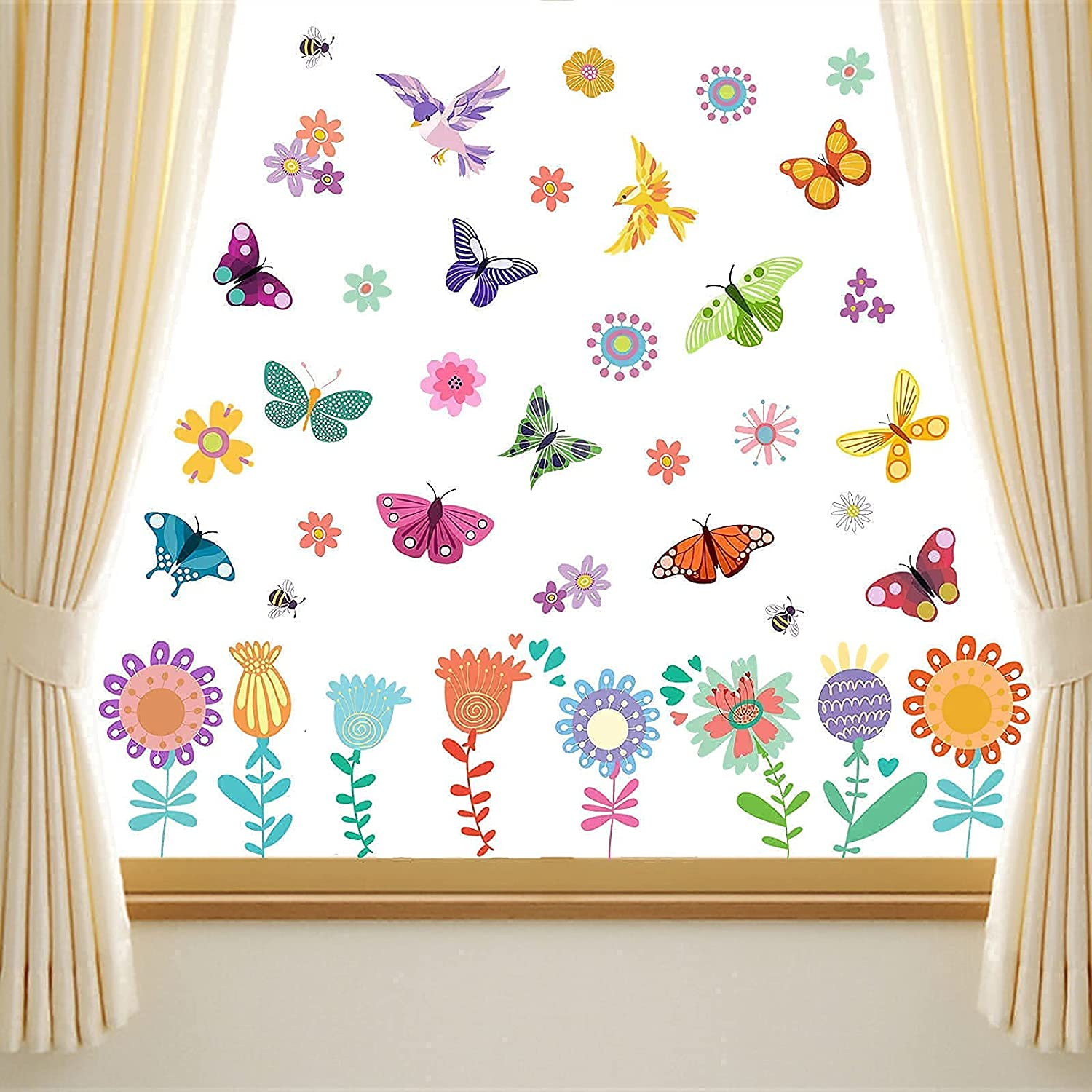 Yovkky Flower Window Clings 9 Sheets, Spring Summer Butterfly Wall Sticker Floral Bird Decal Anti-Collision Bee Botanical Plant Decor, Seasonal Home Kitchen Office Fridge Decorations Kids Party Supply