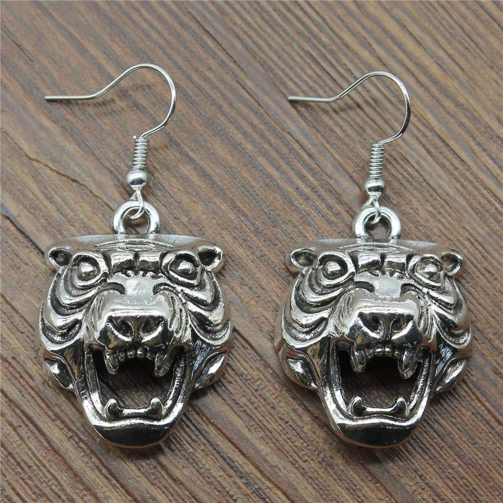 WYSIWYG 3 Pairs Drop Earrings Earrings for Girls 3D Tiger Head 31x24x10mm with Earring Backs Stopper