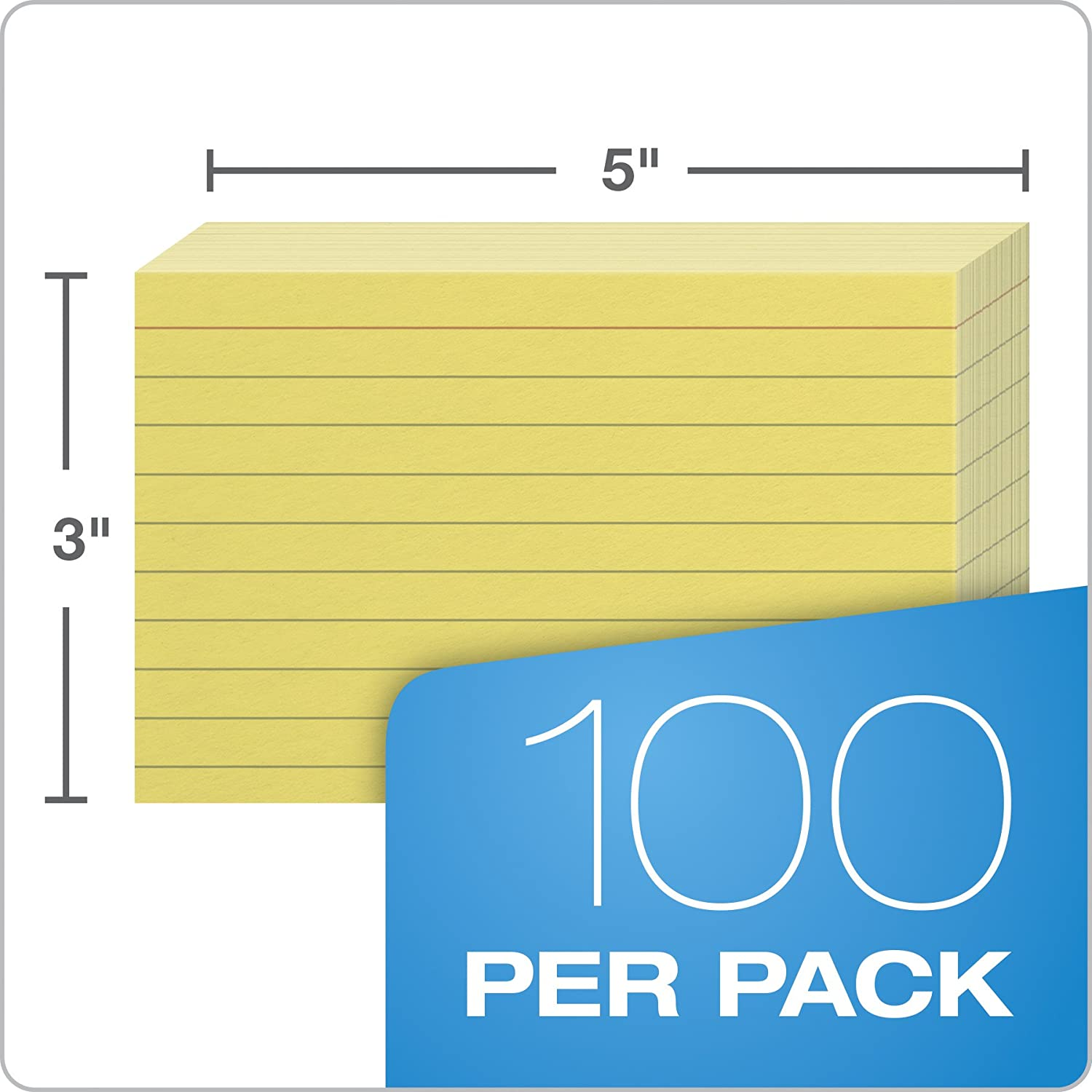 Canary Oxford Ruled Color Index Cards 100 Per Pack 3 x 5 7321 CAN